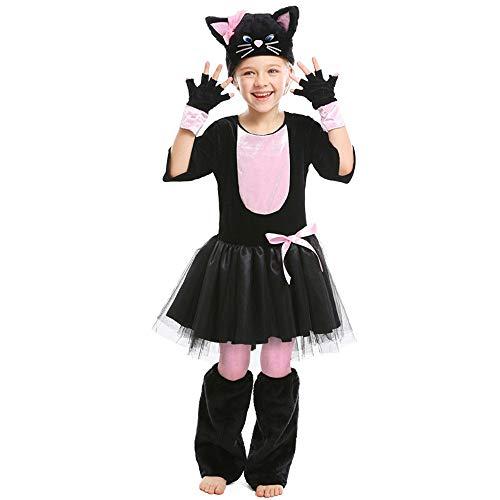 FYMDHB886 Disfraz De Halloween Disfraces Niños Animal Dress Up Girl Black Cat Pink Bow Dress Dress Set Disfraz De Cosplay