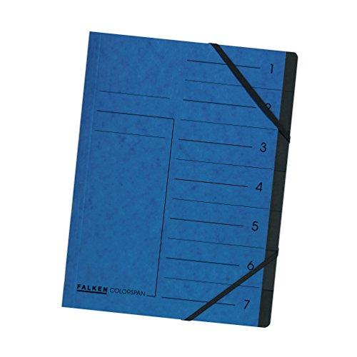 Original Falken Premium Ordnungsmappe. Made in Germany. Aus extra starkem Colorspan-Karton DIN A4 7 Fächer und 2 Gummizüge mit Organisationsdruck blau Ringmappe Register-Mappe