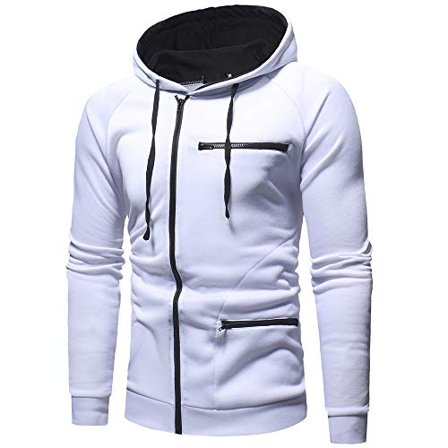 MRULIC Herren New Slim Fit Halfzip Jacke Kapuze Hoodie Sweatshirt Kapuzenpullover RH-004(Weiß,EU-46/CN-L)