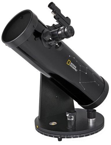 National Geographic Teleskop 114/500 Compact mit azimutaler Tischmontierung, Zubehörablage und LED-Leuchtpunktsucher in kompakter Dobson Bauweise, schwarz