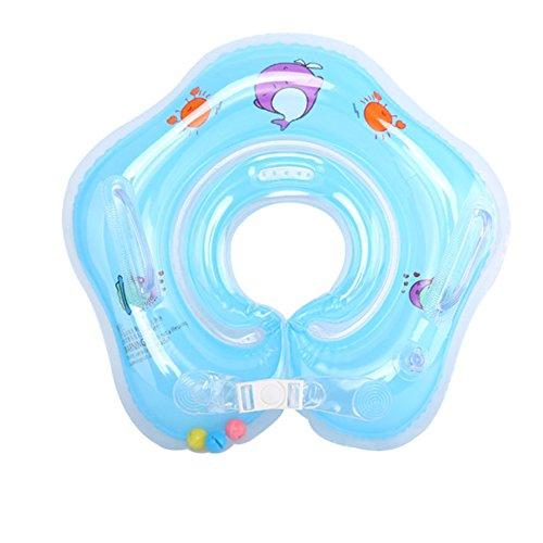 E-db Salvagente Collo Neonato - Gonfiabile Regolabile Doppio Airbag Salvagente Neonate per 1-18 Mesi Baby (Blu)