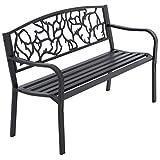 Nexos Gartenbank Parkbank Metall 127x50x84 cm 3-Sitzer Metall-Bank Sitzbank Gartenmöbel Ruhebank Außen-Bank Farbe: schwarz Modell wählbar (Rotona)