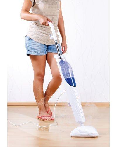 Sichler Haushaltsgeräte Dampfbesen: Kompakter Dampfreiniger mit 1.500 Watt, für Hart- und Teppichböden (Dampfbodenreiniger)