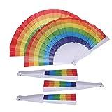ABOOFAN 5pcs Rainbow Prints Ventilador plegable colorido ventilador de mano durable regalo tela abanico decoración de boda gay (mango de plástico)