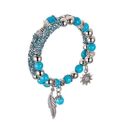 EVER FAITH Damen Armband Vintage Stil Boho Ethnische Perlen Strass Kristall Doppelt Wickeln Armreif Blau