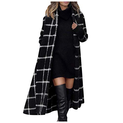 ReooLy - Abrigo con Capucha de Invierno a Cuadros para Mujer, Gabardina, Abrigo Largo y cálido, Prendas de Vestir(Negro,M)