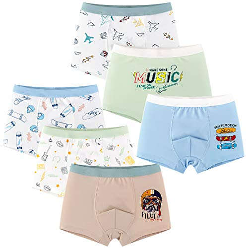 YOUNGSOUL Jungen Boxershorts Unterhosen Slips Baumwolle 6er Pack Kinder Boxer Unterwäsche Modell 4/110-116