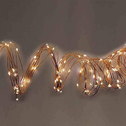 Guirlande de fil de cuivre 100 LED blanc chaud.
