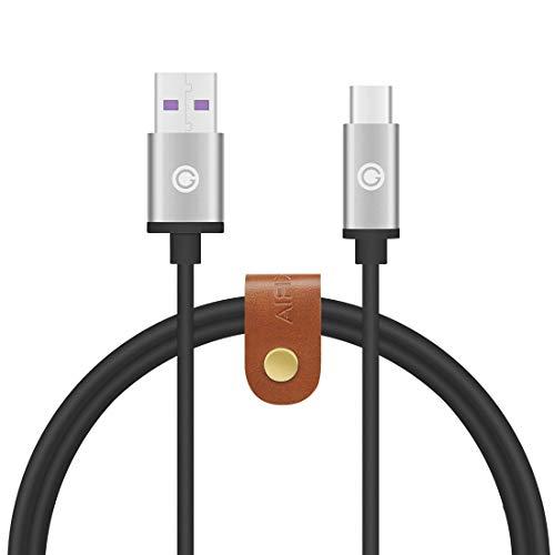 Geekria 4.5V5A Supercharge Type-C Lader Kabel Compatibel met HUAWEI Mate 20 Pro Mate X Mate 20 RS Huawei P20 P30 Pro Honor 20 V20 Oplaadkabel USB-C Oplader Kabel (4FT Zwart)