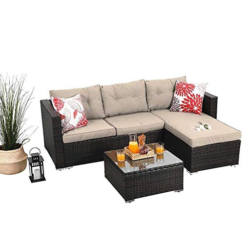 PHI VILLA Outdoor Sectional Rattan Sofa - Wicker Patio Furniture Set (Beige)