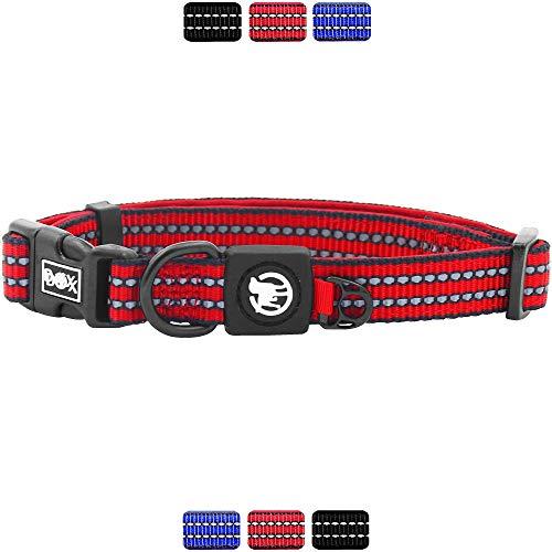 DDOXX Hundehalsband Nylon, reflektierend, verstellbar, gepolstert | viele Farben & Größen | für kleine & große Hunde | Halsband Hund Katze Welpe | Hunde-Halsbänder | Katzen-Halsband klein | Rot, M