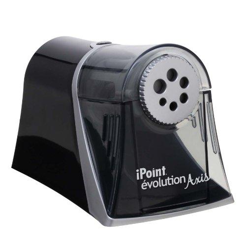 Westcott iPoint Axis E-1550900– Taille-Crayon Électrique– Arrêt Automatique– 6Trous de Diamètres Différents– Gris et Noir
