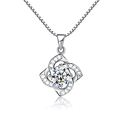 """NOOYAH """" Lucky Flower' Women Necklaces 925 Sterling Silver Love Heart Pendant Necklace Gift for Girls, Anniversary Jewelry Birthday Gifts for Mom Girlfriend"""