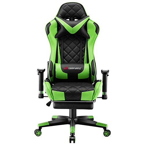 JL Comfurni Gaming Chair Racing Computer Chair Office Desk Chair High-Back Gaming Recliner with Footrest Ergonomic Video Chair for adults PU Leather Swivel E-sports Chair Green