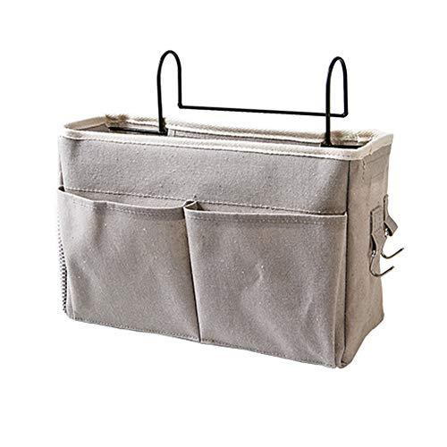 Whchiy Bedside Hanging Storage Basket Multi-function Organizer Caddy for Headboards Bunk Beds Hospital Bed Dorm Rooms (With Pocket, Grey)