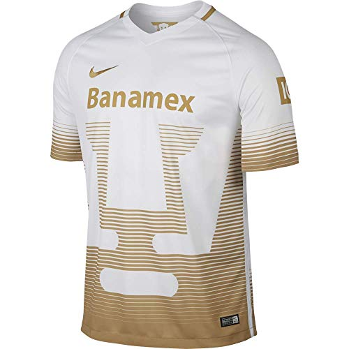 2015-2016 Nike UNAM Pumas Away Replica Soccer Jersey (White/Gold) (M)