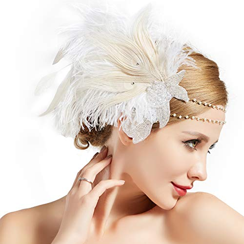 BABEYOND Art Deco 1920s Flapper Headpiece Roaring 20s Great Gatsby Feather Headband 1920s Flapper Gatsby Accessories (Off-White)