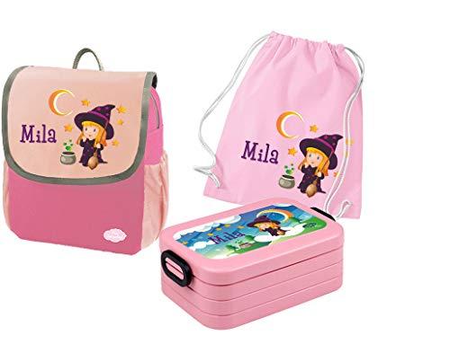 Mein Zwergenland Set 4 Kindergartenrucksack mit Brotdose und Turnbeutel Happy Knirps Next mit Name Hexe, 3-teilig, Pink