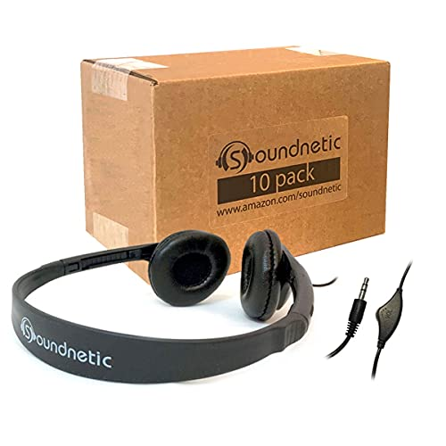 Soundnetic CCV 10 Pack Classroom Stereo Budget Headphones with Leatherette...