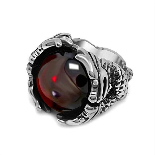 Anyeda Ring Edelstahl Unisex Drachenring Rot Ringe für Charms Ringgröße 60 (19.1)