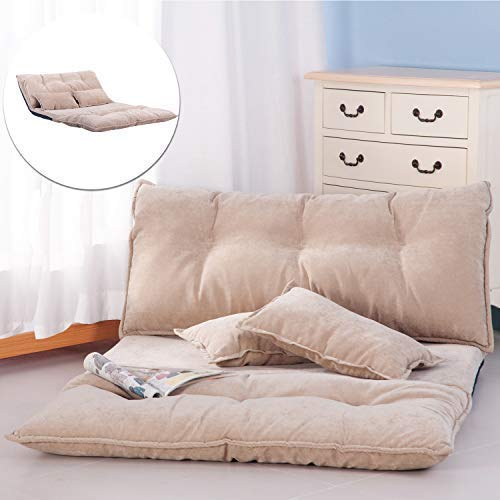 Floor Sofa Bed, Foldable Sleeper Sofa Bed, Lounge Couch, Reclining Sofa Couch with 2 Pillows for Living Room (Beige)