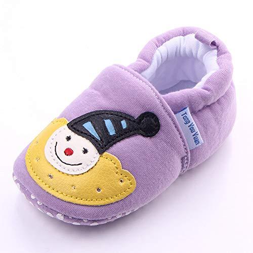 Kinderkleding katoenen schoenen schoenen babyschoenen met elastische mond en zachte zool voor 0-1Y kinderen baby shower geschenken 12cm Lila regenboog
