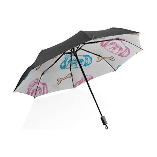 Ombrello da pioggia fantasia Simpatico peloso Piccolo animale domestico Orso Cane Cane Ombrello pieghevole compatto portatile Protezione anti-Uv Antivento Viaggi all'aperto Donne Ombrello da