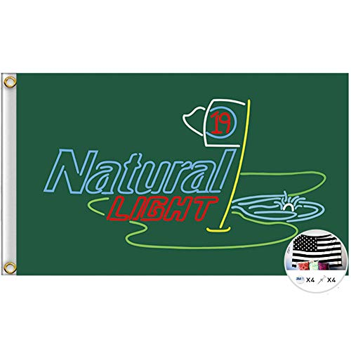 Probsin Natural Light 19th Hole Flag Cool Beer Flags,3x5 Feet Banner,Funny Poster UV Resistance Fading & Durable Man Cave Wall Flag with Brass Grommets for Dorm Room Decor,Parties,Gift,Tailgates