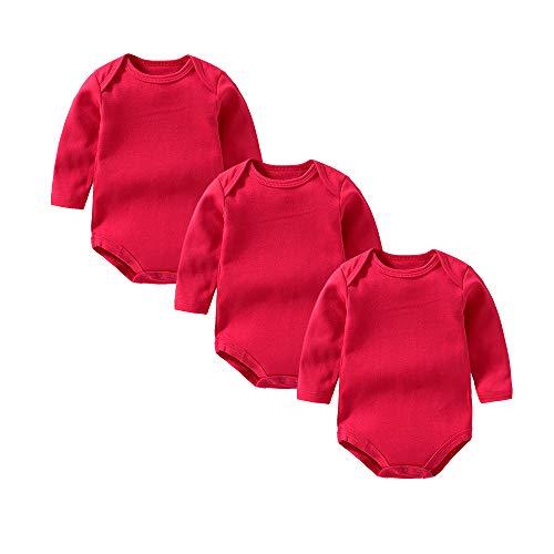 YSCULBUTOL Unisex wielopak body niemowlęce 3-częściowy zestaw dla niemowląt bawełna z długim rękawem dla noworodków malucha koszule 0-12 miesięcy