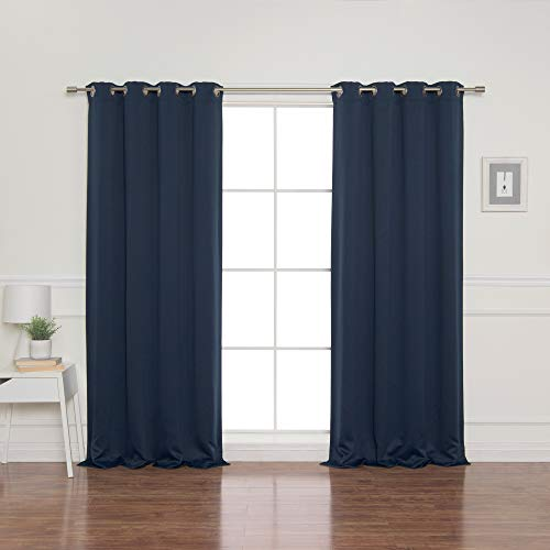 """Best Home Fashion Blackout Curtain Panels - Premium Thermal Insulated Window Treatment Blackout Drapes for Bedroom - Antique Bronze Grommet Top – Navy - 52"""" W x 90"""" L - (Set of 2 Panels)"""