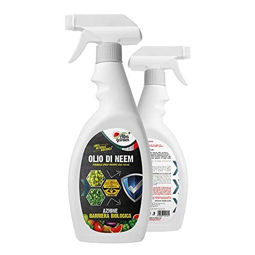 Albagarden - Olio di Neem Spray pronto uso L' UNICO DA 750 ML il più concentrato - Insetticida Fungicida Acaricida Naturale Afidi Cimici Pidocchi Ragnetto Cocciniglia Funghi Zanzare per x 750 ml