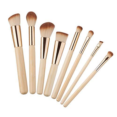 8pcs / Set poignée en bambou Maquillage Pinceaux Kits Base de poudre for le visage Sourcils Brosses beauté multifonction Outil de maquillage