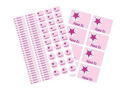 Mein Zwergenland Schulstarter-Set: Stickerbogen mit Namensaufkleber und Heftaufkleber Stern rosa