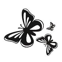 chang 車のステッカー創造性美しい蝶ファッションビニール車のスタイリングデカール自動ボディウィンドウデカール車の装飾、15.2 * 17cm (Color Name : BLACK, Size : 23cn X 21cm)