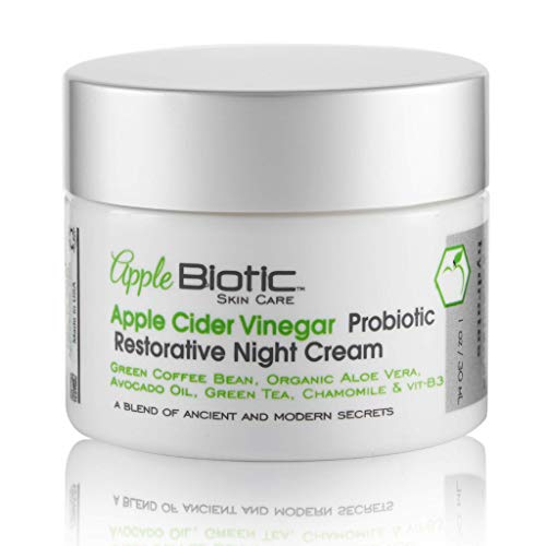 Apple Cider Vinegar Probiotic Restorative Night Cream with African Green Coffee Extract, Vitamin B3, Green Tea and Chamomile Extract to Firm and Restore for Dry, Oily, Sensitive Skin, Men and Women.