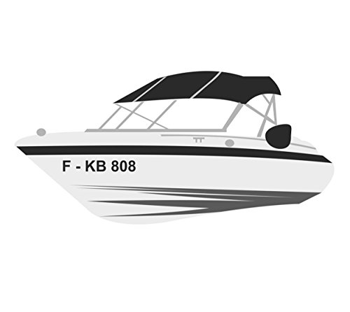 Melis Folienwerkstatt Bootskennzeichen - 2 Stück Boot Kennzeichen - 10cm Höhe - Bootsbeschriftung Bootsname Bootsnummer Bootsaufkleber Schiff - A10