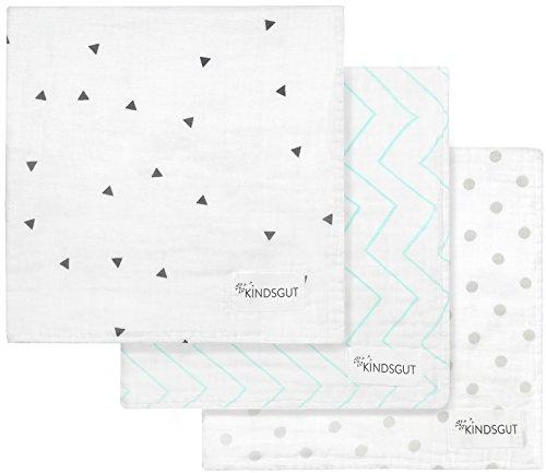 Kindsgut Spucktücher, Mulltücher 3er-Set in 60x60 cm aus 100% Baumwolle, schlichte Designs und dezente Farben, ideal für unterwegs, Muster
