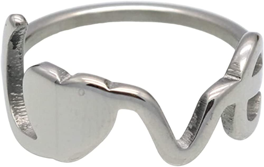 Stainless Steel Word Love Heart Charm Wedding Engagement Statement Anniversary Ring