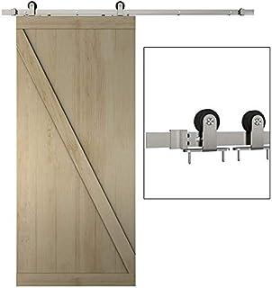 JUBEST Satin Nickel Sliding Barn Door Hardware Kit Smoothly and Quietly Hanger Roller Flat Track Kit 2x3.3ft Rails