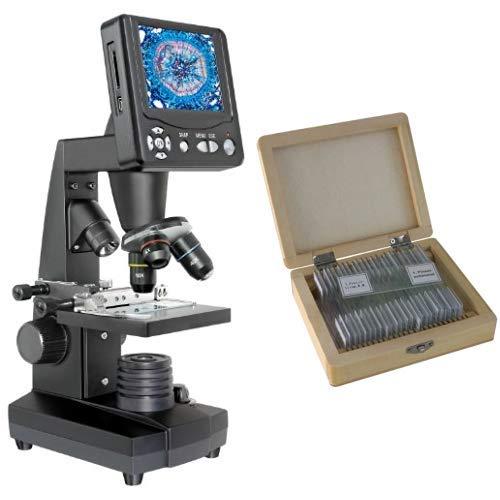 Bresser Durchlicht und Auflicht LCD-Mikroskop,5 Megapixel Sensor inklusive Kreuztisch zur Objektverstellung, SD Karten Anschluss und umfangreichem Zubehör & Dauerpräparate für Mikroskop