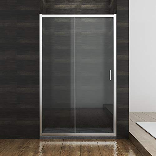 Duschkabine Duschschiebetür,Verschiedene Größen 100 cm 110 cm 120 cm, ESG Glastür Dusche Nischentür Einzelschiebetür,Glasschiebetür dusche 110x185 cm