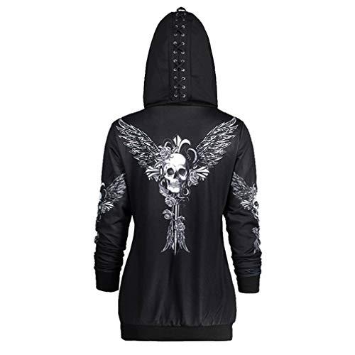 Yuandongxing Sudaderas Góticas Mujer Cráneo Halloween Punk Street Pullover Causal Loose Punk Tallas Grandes Sudaderas con Capucha