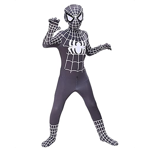 GJZhuan Traje De Superhéroe para Niños Increíbles Disfraces Spiderman Unisex Adultos Niños Cosplay Mono Body Lycra Spandex Zentai Película Halloween Medias Elásticas,Black-Kids/L/115~125cm