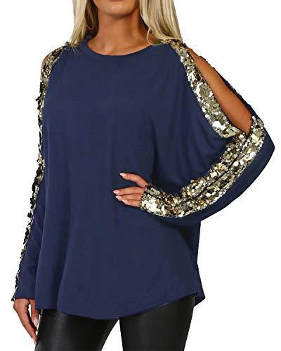 YOINS - Camiseta de manga larga para mujer, con lentejuelas brillantes Nouveau-bleu XL