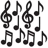 Beistle Mini Musical Notes Silhouettes, 5.5'-10.25', Black