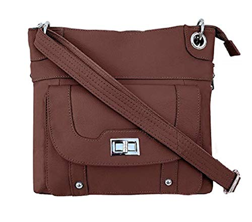 Concealed Carry Gun Purse - Twist Lock Pocket Crossbody Bag by Roma Leathers (Brown)