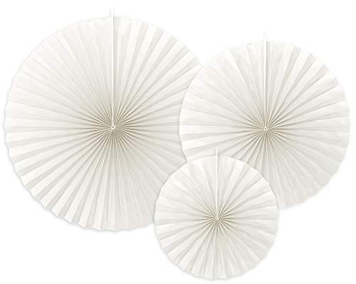 Dekorative Rosetten, 3 Stück, Gebrochenes Weiß, 23-40 cm, Papierrosetten RPK9-008Z