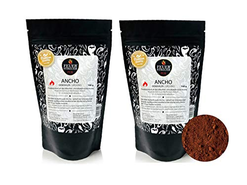 Ancho Chili, gemahlen - FeuerStreuer Pur - Zip-Beutel mit Aromaschutz - 2x 100g - Das ideale Geschenk für Chili-Fans