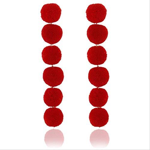 Pendientes para mujer Juegos de aros Pendientes largos de bola de felpa negra roja Pendientes largos de perlas regalopara fiesta de bodae0268red