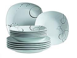 Mäser, Serie Chanson, Tafelservice 12-teilig, Geschirrset für 6 Personen, leicht eckig aus Porzellan